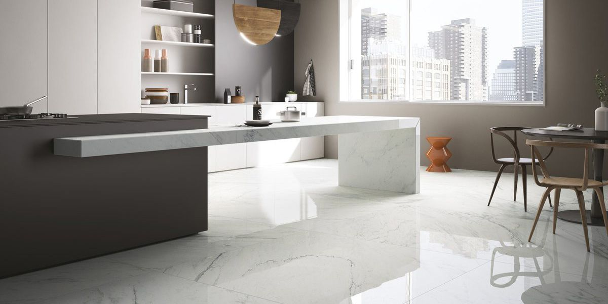 Modern Gloss Onyx Marble Flooring Kitchen
